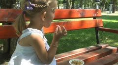 Child Eating Cereals, Cornflakes in Park, Healthy Food, Children Stock Footage