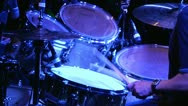 Drummer Pounding Drums at Rock & Roll Concert Stock Footage