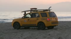 LA County Beach Patrol Lifeguard - Santa Monica California Stock Footage