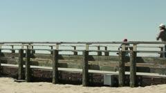 Beach Bridge Rollerblader Stock Footage