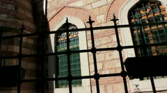 Small Brick Mosque in Taksim area of Istanbul, Turkey Stock Footage