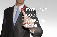 Stock Illustration of business man pointing checked box on the screen background