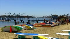 Boats, Paddle Boards, Swimmers At Alamitos Bay Beach Stock Footage