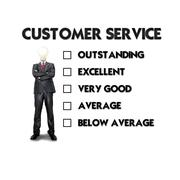 Customer service evaluation form with business man selecting the choice Stock Illustration