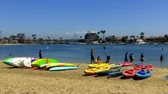 Kayaks On Beach- Alamitos Bay- Long Beach CA Stock Footage