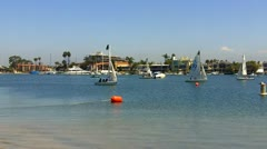 Little Sailboats In Alamitos Bay- Long Beach CA Stock Footage