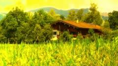 European Alps Austria 35 house stylized Stock Footage