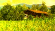 European Alps Austria 35 house stylized Stock Footage