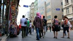 Tourists in Taksim area of Istanbul, Turkey Stock Footage