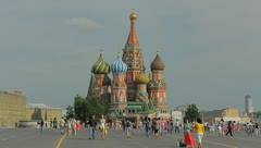 Kremlin Red square in Moscow with people crowds, day time - stock footage