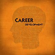 word cloud business concept inside head shape, career development - stock illustration
