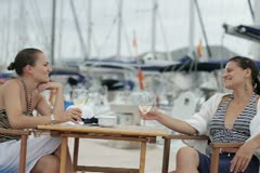 Happy glamour female friends relaxing in marina, steadicam shot NTSC Stock Footage