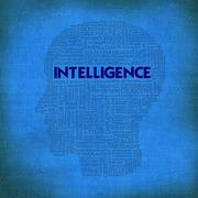 Stock Illustration of word cloud business concept inside head shape, intelligence
