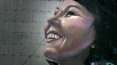 Inuit Girl's Face (wall mural).mp4 Stock Footage