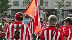 Madrid before Copa del Rey Final 2012 Athletic Bilbao Fans 06 Stock Footage