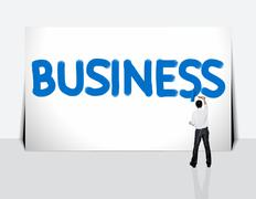 Stock Illustration of business man paint business word on white background