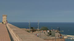 Rooftop of Castell de Montjuïc Stock Footage