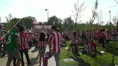 Madrid before Copa del Rey Final 2012 Athletic Bilbao Fans 11 Stock Footage