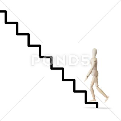 Stock Illustration of wooden model climbs the ladder of success and career concept