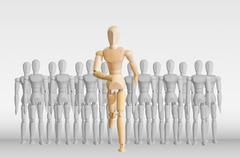 wooden model in the crowd for human resource concept - stock illustration