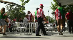 Madrid Cafe before Copa del Rey Final 2012 Athletic Bilbao Fans 01 Stock Footage