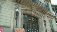 Protest agains barclays bank, Barcelona, Spain Stock Footage