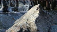 Waterfall over rocks | Slider (track right) Stock Footage