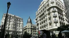 Madrid Calle De La Montera and Gran Via crossing 02 - stock footage