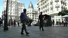 Madrid Calle De La Montera and Gran Via crossing 03 - stock footage