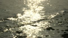Golden Sun Reflection off the Salton Sea Stock Footage