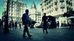 Stock Video Footage of Madrid Calle De La Montera and Gran Via crossing 04 stylized 1