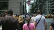 Crowd of people walking crossing street New York slow motion 24p Stock Footage