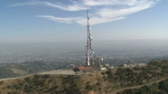 2012-LA Aerial of TV Radio communications Antenna Tower Stock Footage