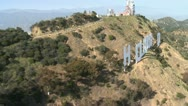 Stock Video Footage of Aerial of the Hollywood Sign