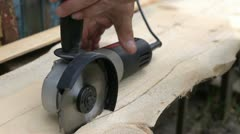 Man sawed wood circular saw Stock Footage