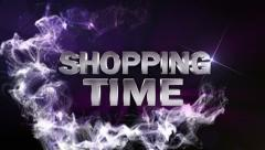SHOPPING TIME Text in Particle Blue (Double Version) - HD1080 Stock Footage