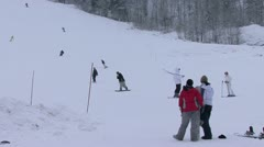 Observing skiing at Mont Tremblant slopes Stock Footage