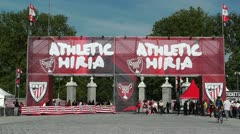 Madrid Casa De Campo before Copa del Rey Final 2012 Athletic Bilbao Fans 01 Stock Footage