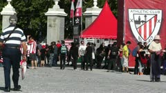 Madrid Casa De Campo before Copa del Rey Final 2012 Athletic Bilbao Fans 02 Stock Footage