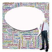 Business man and bulb head with word cloud for business concept Stock Illustration
