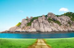 rock island at koa toa thailand - stock illustration