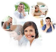 Customer service agents in a call center - stock photo