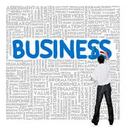 Business man paint business wording concept on tag cloud background Stock Illustration