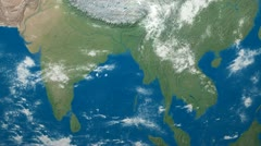3D Earth Globe Map, India, SE Asia Stock Footage