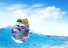 earth and house falls deeply under water with a splash.elements of this image - stock illustration
