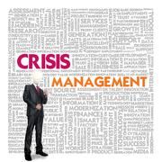 business word cloud for business concept, crisis management - stock illustration