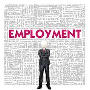 business word cloud for business concept, employment for human resource - stock illustration