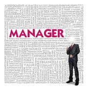 business word cloud for business concept, manager - stock illustration