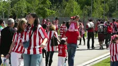 Madrid Casa De Campo before Copa del Rey Final 2012 Athletic Bilbao Fans 11 Stock Footage