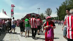Madrid Casa De Campo before Copa del Rey Final 2012 Athletic Bilbao Fans 12 Stock Footage